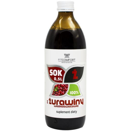 SOK Z ŻURAWINY 100% 0,5L FITCOMFORT